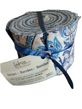 """20 Jelly Roll Fabric Strips 10 Designs 2 Of Each 2.5"""" x 42"""". 100% Cotton"""
