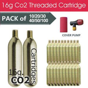 Bike Bicycle Tyre Air Inflator 16g Co2 Threaded Cartridge 10/20/30/40/50/100x