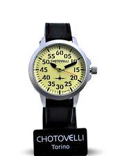 Chotovelli Mens Pilot Meca-quartz Watch Vintage Black Leather Strap 3305
