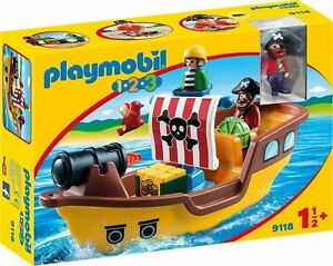 Playmobil 9118 1.2.3 Pirate Ship, For Children Ages 18 Months +