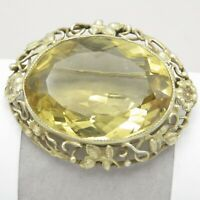 Vintage Arts & Crafts Sterling Silver LARGE Citrine Brooch Pin Pendant