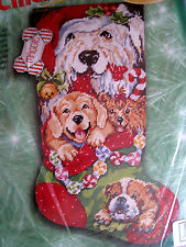 Holiday Bucilla Needlepoint Stocking Kit,PUPPIES FOR CHRISTMAS,Gillum,60770,18""