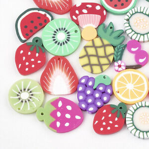 12 Fruit charms random mixed polymer clay fimo jewellery making