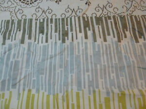 """JCP Curtain Valance Blue Green Brown Striped Lined 82 x 17"""""""