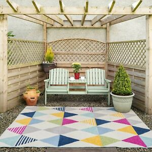 Vibrant Diamond Outdoor Rug Large Washable Patio Party Mat Flatweave Runner Rugs