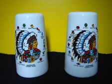 Vintage Ceramic American Indian Chief w/ Headdress Salt & Pepper Shakers EUC