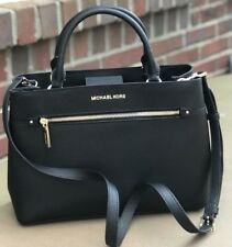 New Michael Kors Black Saffiano Leather Hailee Medium Satchel Handbag Purse