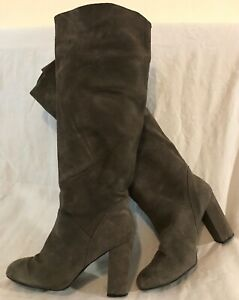 Next Grey Knee High Suede Lovely Boots Size 7 (673vv)