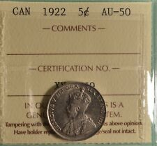 1922 Canada  5 Cent - ICCS AU-50  -  Serial # XYJ 459