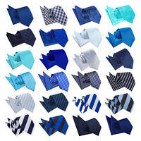 DQT Blue Mens Tie & Hanky Set Plain Patterned Floral Spotted FREE Pocket Square