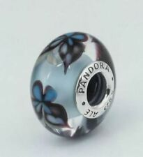 NEW AUTHENTIC Pandora Blue Butterfly Silver Murano Glass Charm - 791622