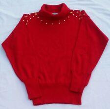winter ski sweater meister size med red knit gold colored studded turtleneck