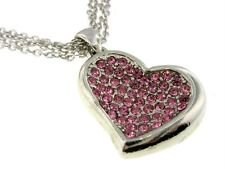 H4 Pink Crystal Heart Love Multichain NECKLACE Silverplate NEW