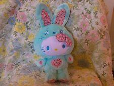 "Hello Kitty sanrio bunny blue patchwork 2011 13"" 17"" plush"