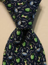 VINEYARD VINES Martha's Boys Youth 100%Silk Necktie Luxury CRABS APPLES Blue EUC