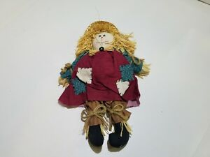 Hand Stitched Polyester Cotton Stuffed Toy Scarecrow Female with Straw Hat