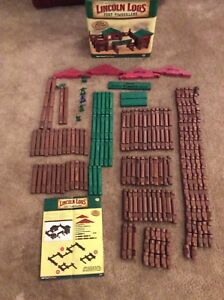 Complete Set Hasbro Lincoln Logs 2006 Fort Timberland 200-Piece Wood In Box EUC