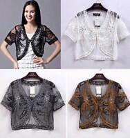 Sheer BOLERO SHRUG Handcraft Jacket Lace Top 8-12 16 Exquisite Crystals Wedding
