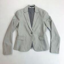 THEORY Career Blazer SZ 6 Wool Blend Single Button Suit Jacket Heather Gray