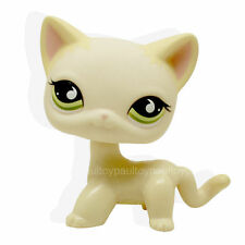 #733 Littlest Pet Shop Yellow Cream Short Hair Cat Kitty Green Eyes RARE Toy LPS