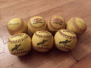 "Lot of 7 Easton IncrediBall & pro mark Yellow 11"" Training Softballs"