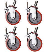 """Set 4 Scaffolding Casters 8""""x 2"""" Heavy Duty 750lbs PU Caster Wheel W/ Lock Brake"""