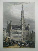 Rare gravure sur acier Hôtel de ville Bruxelles Rouargue Frères XIXème