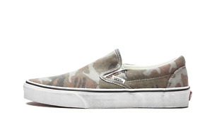 Men Vans Classic Slip On Skate Shoes Washed Camo Green Brown Black Camouflage