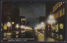 Grand Forks-North Dakota-Third Street View at Night-Antique Postcard