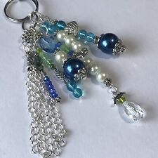 Handmade Unique Blue Clear Dangle Beaded Keyring Charm Seaside Keepsake Keys Bag