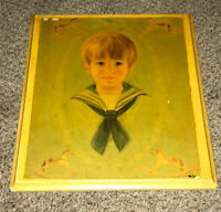 Vintage Antique Wood Wall Art Portrait ✳️ Young Child Boy Rocking Horses- Wooden