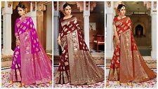 Designer Bollywood Banarasi Silk Saree Wedding Wear Indian Sari Blouse New RF