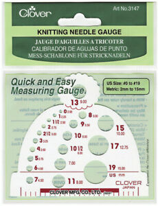 Clover Knitting Needle Gauge-Measures Sizes 0 To 19