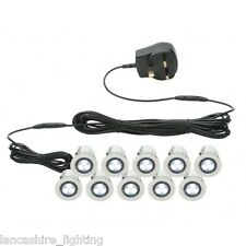 Set of 10 x 30mm Recessed White LED Decking Lights/Plinth & Bathroom Lights IP44