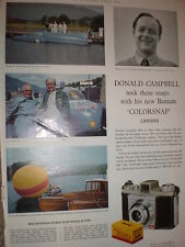 Donald Campbell uses Kodak film for his camera 1959 old advert