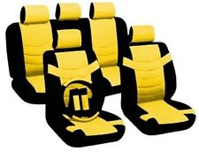 14PC Premium PU Black Yellow Car Front Rear Seat Covers Steering Wheel Set HS4