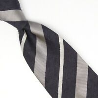 Josiah France Mens Shanung Silk Necktie Navy Blue Gray White Slub Stripe Tie