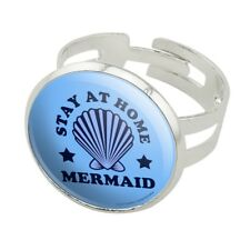 Stay at Home Mermaid Funny Humor Silver Plated Adjustable Novelty Ring