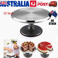 12 Inch Cake Turntable Aluminum Steel Rotating Decorate Platform Stand Silver AU