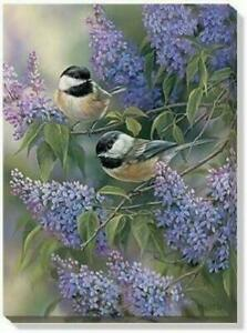 Rosemary Millette Chickadee & Lilacs 13 x 18 Gallery Wrapped Canvas