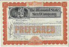 Delaware 1901 The Diamond State Steel Company Stock Certificate Abn