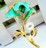 """Delightful Jeweled DAFFODIL Flower Rhinestone Retro Vintage BROOCH Blue 2-1/2"""""""