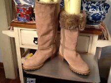 Zara Women's Tan Faux Fur & Leather tall Boots Women's 41 US-Sz- 10 Cuff Down