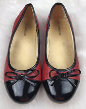 LN~LAMOUR~L'AMOUR~LEATHER~QUILTED~RED/BLACK~SHOES~FLATS~PATENT~2