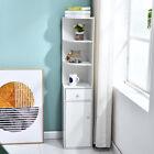 Modern+Wood+Bookcase+Corner+Shelf+Stand+w%2F+Drawer+Storage+Cabinet+Funiture+White