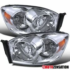 Dodge Ram 06-08 1500 06-09 2500/3500 Chrome Clear Projector Headlights+Bulbs