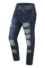 NWT Men Biker Denim Ripped Jeans Slim Fit Double Needle Blue Stonewashed MJP-926