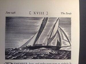 1930s Art Deco Woodcut print by Rockwell Kent: Boat, Ocean