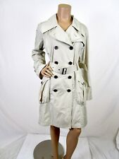 Burberry London Double Breasted Raincoat Size 8 Tan Trench Coat Removable Hood