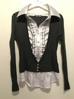 SIZE M WHITE/GREY SHIRT CARDIGAN TOWIE/WORK/OFFICE/SMART/CHELSEA/CELEB/BOHO/LOVE
